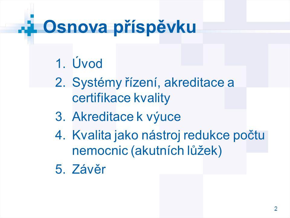 2 2 Osnova příspěvku  Úvod  Systémy řízení, akreditace a certifikace kvality  Akreditace k výuce  Kvalita jako nástroj redukce počtu nemocnic