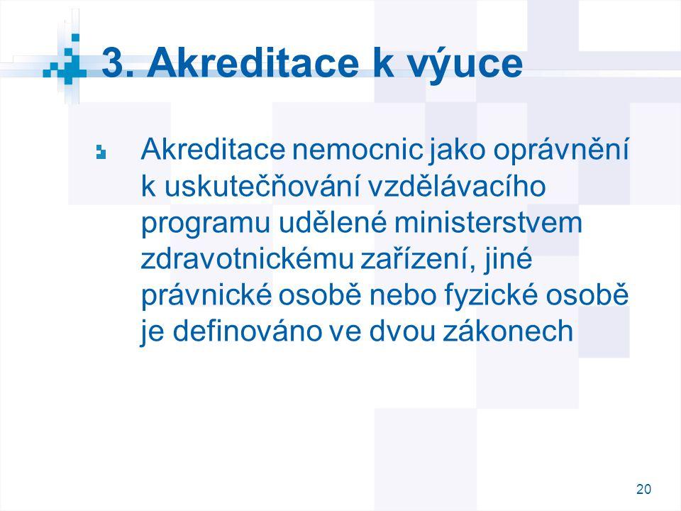 20 3. Akreditace k výuce Akreditace nemocnic jako oprávnění k uskutečňování vzdělávacího programu udělené ministerstvem zdravotnickému zařízení, jiné