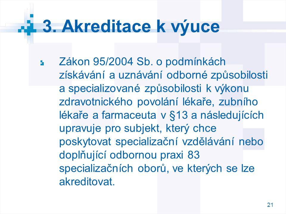 21 3. Akreditace k výuce Zákon 95/2004 Sb. o podmínkách získávání a uznávání odborné způsobilosti a specializované způsobilosti k výkonu zdravotnickéh