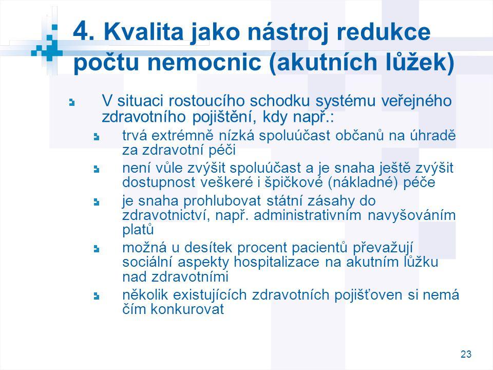 23 4. Kvalita jako nástroj redukce počtu nemocnic (akutních lůžek) V situaci rostoucího schodku systému veřejného zdravotního pojištění, kdy např.: tr