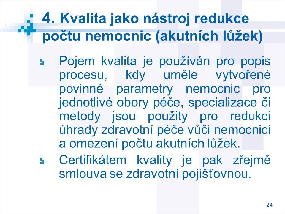 24 4. Kvalita jako nástroj redukce počtu nemocnic (akutních lůžek) Pojem kvalita je používán pro popis procesu, kdy uměle vytvořené povinné parametry