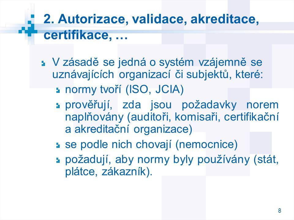 8 8 2. Autorizace, validace, akreditace, certifikace, … V zásadě se jedná o systém vzájemně se uznávajících organizací či subjektů, které: normy tvoří