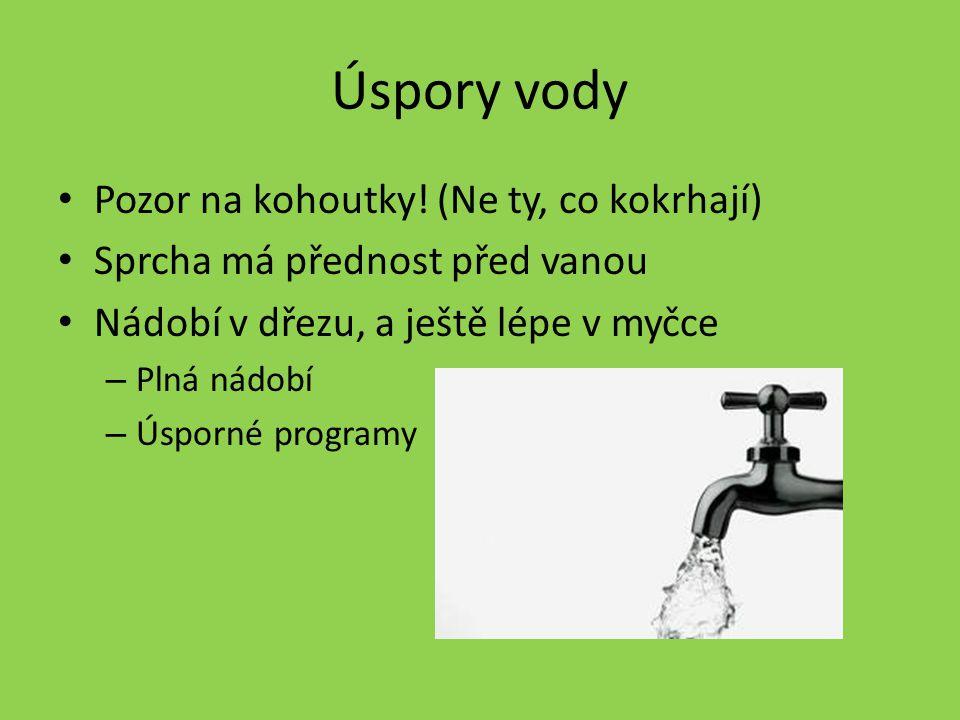 Úspory vody Pozor na kohoutky! (Ne ty, co kokrhají) Sprcha má přednost před vanou Nádobí v dřezu, a ještě lépe v myčce – Plná nádobí – Úsporné program