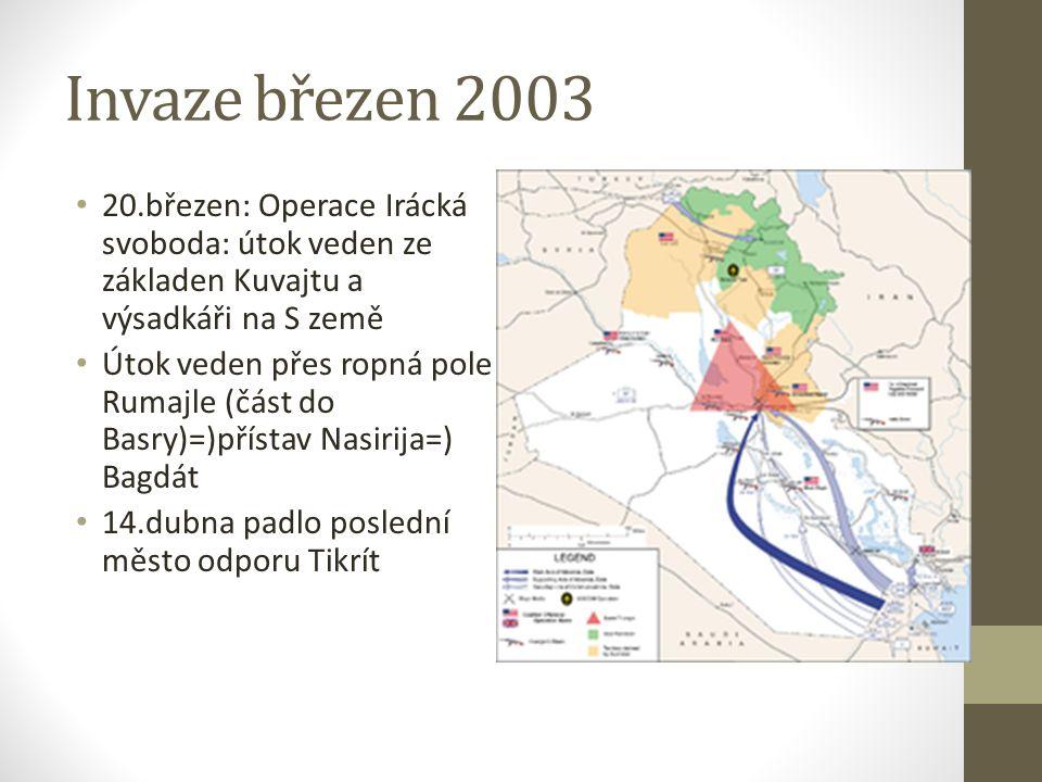 Po invazi Duben 2003: ustanovena prozatímní koaliční správa, dále byla ustanovena skupina hledající zbraně hromadného ničení (chemické zbraně nalezeny polskou jednotkou 2004) Květen 2003: prezident Bush vyhlásil vítězství a ukončení hlavních bojových operaci, i když stále existovala ohniska odporu-sunnitský trojúhelník (Bagdát)-guerillová taktika Ramadánová ofenziva: nutnost použít i letectvo pro stabilizaci situace Nespokojenost s prozatímní správou, nepovedlo se obnovit základní služby na stav před válkou Prosinec 2003: Zajat Saddam Husajn, pokles povstaleckých útoků, spory ve vládě=) zase nárůst