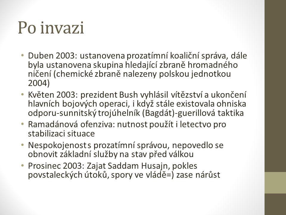 Po invazi Duben 2003: ustanovena prozatímní koaliční správa, dále byla ustanovena skupina hledající zbraně hromadného ničení (chemické zbraně nalezeny