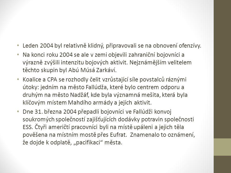 Leden 2004 byl relativně klidný, připravovali se na obnovení ofenzívy. Na konci roku 2004 se ale v zemi objevili zahraniční bojovníci a výrazně zvýšil