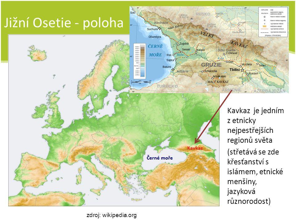 Jižní Osetie – obecné informace Obyvatelstvo: Osetinci (menšiny: Gruzínci, Rusové, Arméni) Od Gruzie se odtrhla za pomoci Ruska dvě její autonomní území: Abcházie a Jižní Osetie Rozloha: necelých 4 000 km 2 Počet obyvatel: asi 75 000 Hustota obyvatel: 20 obyv./km 2 Hlavní město: Cchinvali Měna: ruský rubl