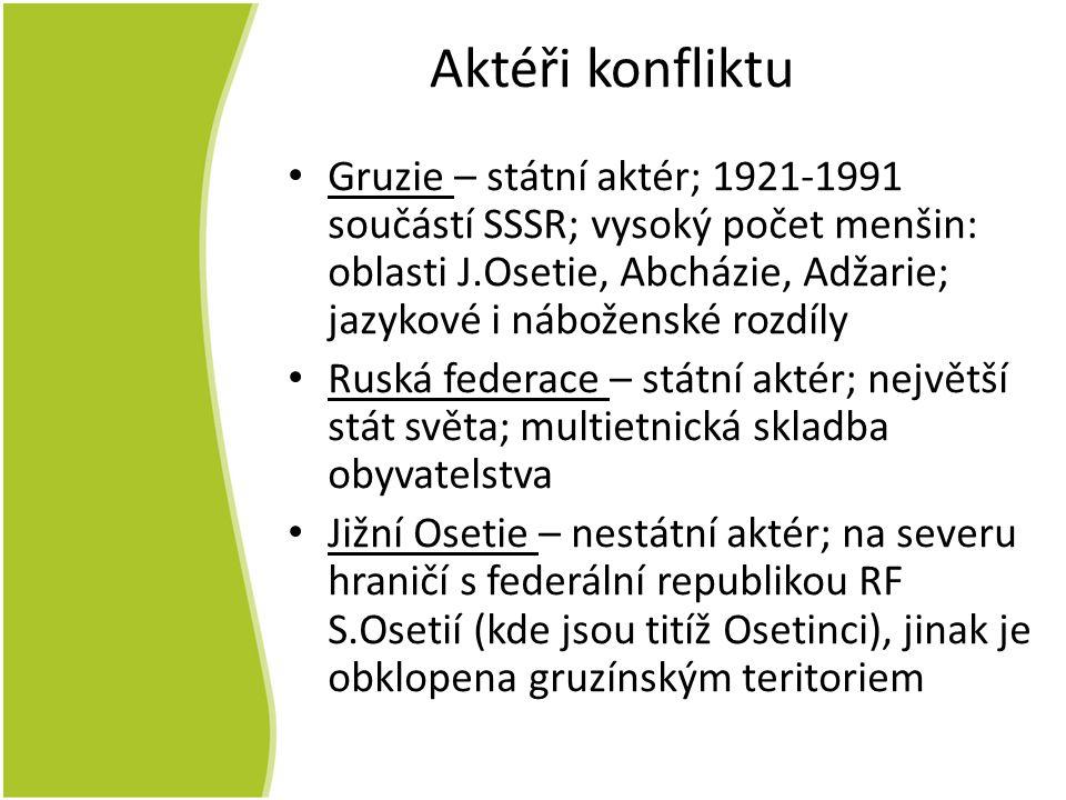 Aktéři konfliktu Gruzie – státní aktér; 1921-1991 součástí SSSR; vysoký počet menšin: oblasti J.Osetie, Abcházie, Adžarie; jazykové i náboženské rozdíly Ruská federace – státní aktér; největší stát světa; multietnická skladba obyvatelstva Jižní Osetie – nestátní aktér; na severu hraničí s federální republikou RF S.Osetií (kde jsou titíž Osetinci), jinak je obklopena gruzínským teritoriem