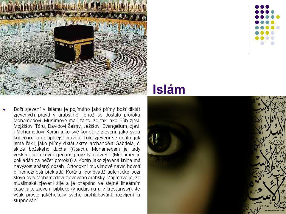Islám Boží zjevení v Islámu je pojímáno jako přímý boží diktát zjevených pravd v arabštině, jehož se dostalo proroku Mohamedovi. Muslimové mají za to,