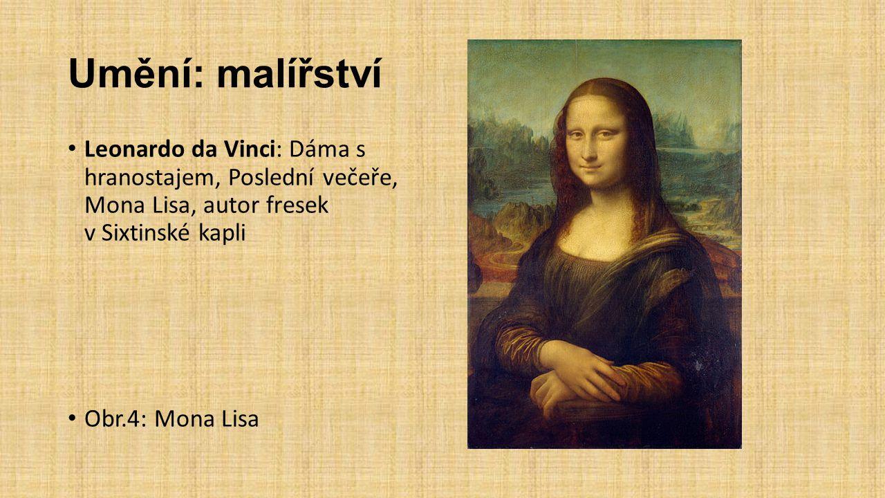 Umění: malířství Leonardo da Vinci: Dáma s hranostajem, Poslední večeře, Mona Lisa, autor fresek v Sixtinské kapli Obr.4: Mona Lisa