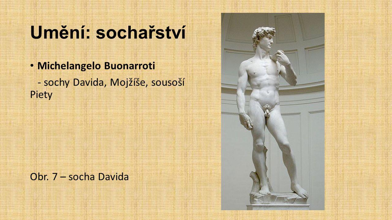 Umění: sochařství Michelangelo Buonarroti - sochy Davida, Mojžíše, sousoší Piety Obr.
