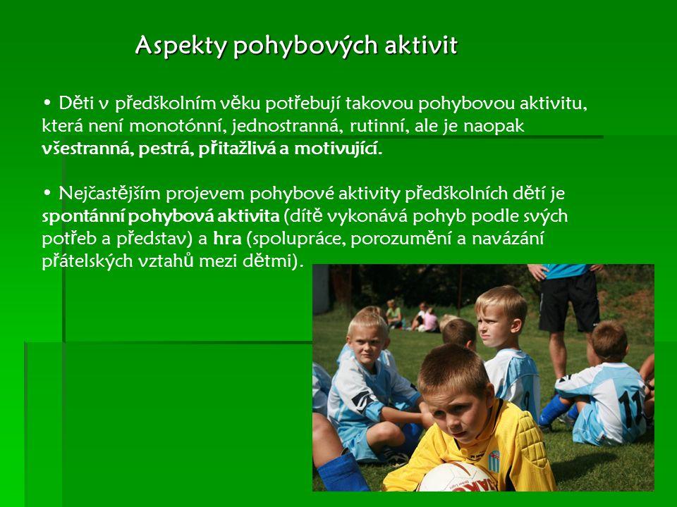 Aspekty pohybových aktivit D ě ti v p ř edškolním v ě ku pot ř ebují takovou pohybovou aktivitu, která není monotónní, jednostranná, rutinní, ale je naopak všestranná, pestrá, p ř itažlivá a motivující.