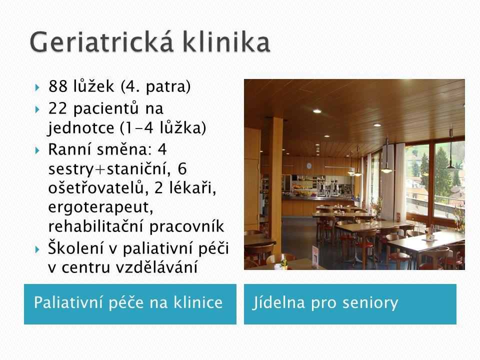 Paliativní péče na kliniceJídelna pro seniory  88 lůžek (4.
