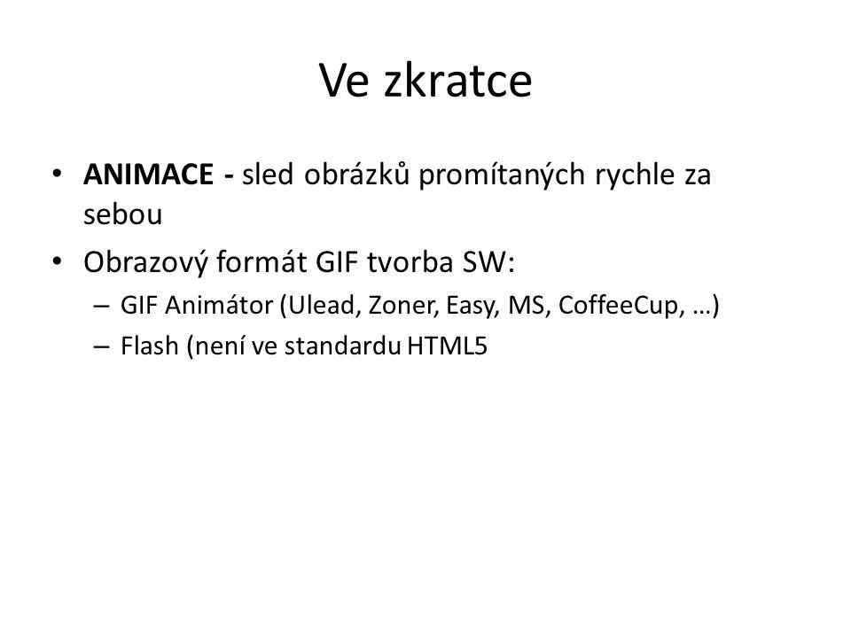 Ve zkratce ANIMACE - sled obrázků promítaných rychle za sebou Obrazový formát GIF tvorba SW: – GIF Animátor (Ulead, Zoner, Easy, MS, CoffeeCup, …) – F