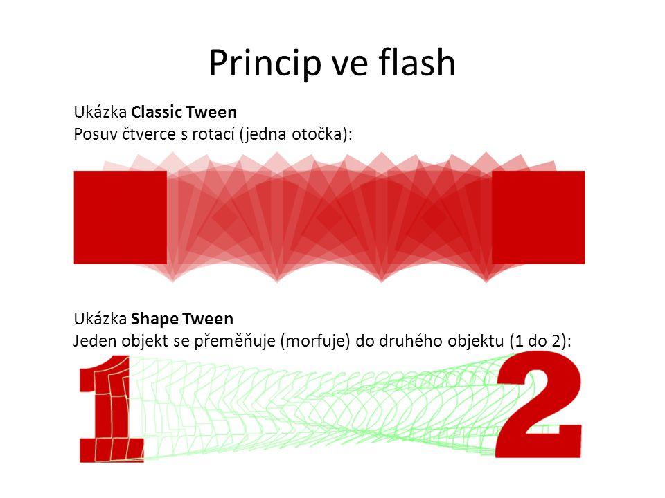 Princip ve flash Ukázka Classic Tween Posuv čtverce s rotací (jedna otočka): Ukázka Shape Tween Jeden objekt se přeměňuje (morfuje) do druhého objektu
