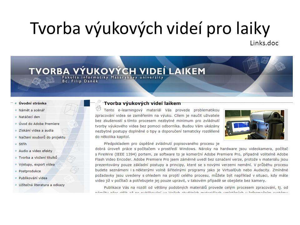 Etapy zpracování videa Námět a scénář Natáčení Získání videa, audia Projekt Střih Efekty Titulky Výstupy, export Publikování