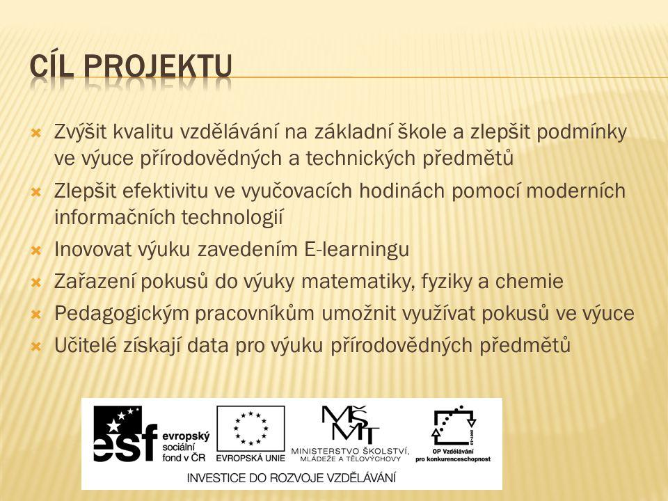  Zvýšit kvalitu vzdělávání na základní škole a zlepšit podmínky ve výuce přírodovědných a technických předmětů  Zlepšit efektivitu ve vyučovacích ho