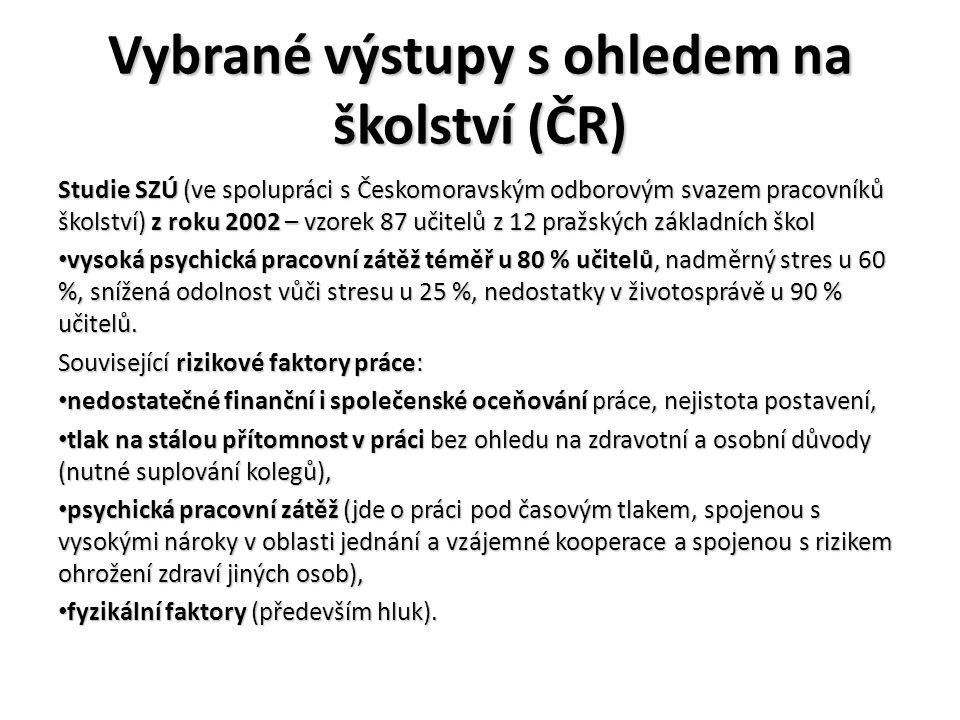 Vybrané výstupy s ohledem na školství (ČR) - pokračování Studie R.