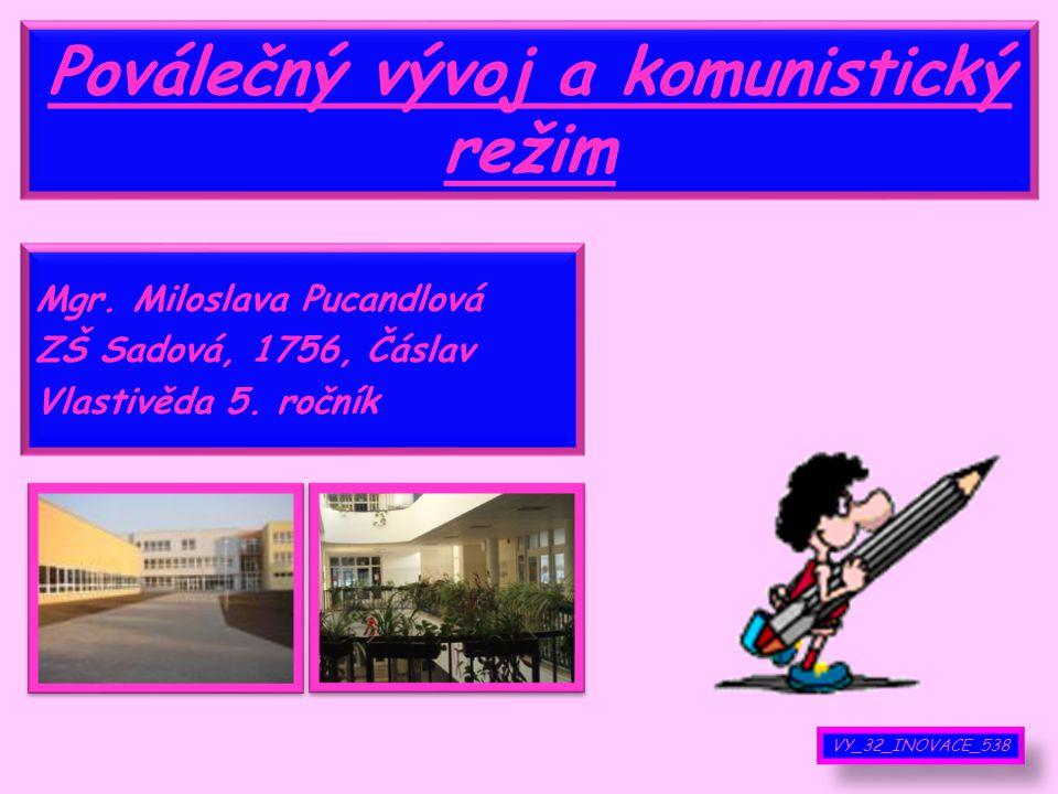 Poválečný vývoj a komunistický režim Mgr.