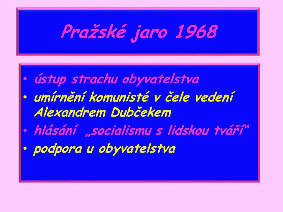 """Pražské jaro 1968 ústup strachu obyvatelstva umírnění komunisté v čele vedení Alexandrem Dubčekem hlásání """"socialismu s lidskou tváří podpora u obyvatelstva"""