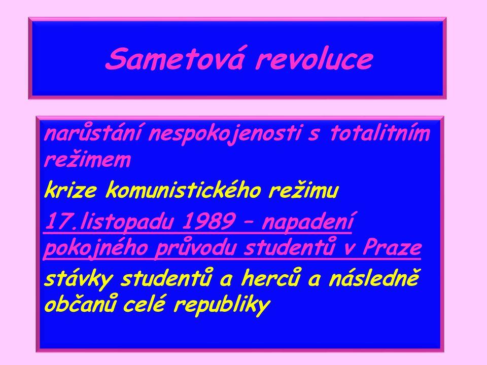 Sametová revoluce narůstání nespokojenosti s totalitním režimem krize komunistického režimu 17.listopadu 1989 – napadení pokojného průvodu studentů v Praze stávky studentů a herců a následně občanů celé republiky
