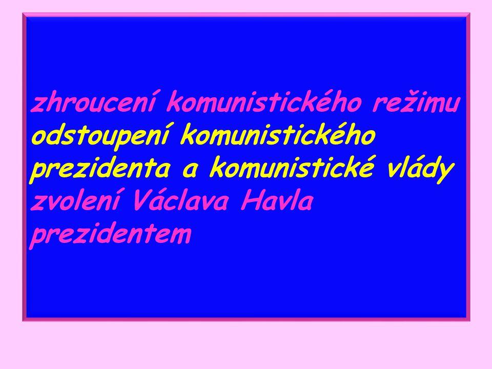 zhroucení komunistického režimu odstoupení komunistického prezidenta a komunistické vlády zvolení Václava Havla prezidentem
