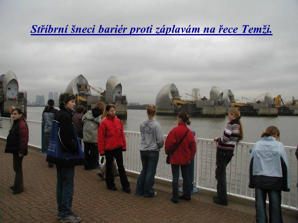 Stříbrní šneci bariér proti záplavám na řece Temži.