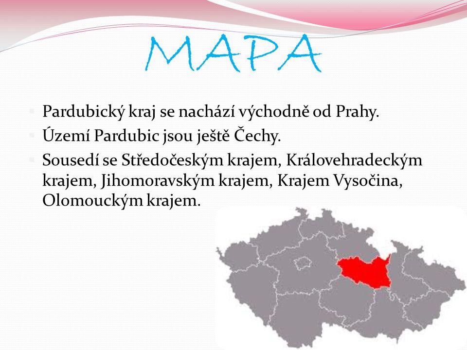 MAPA PPardubický kraj se nachází východně od Prahy. ÚÚzemí Pardubic jsou ještě Čechy. SSousedí se Středočeským krajem, Královehradeckým krajem,