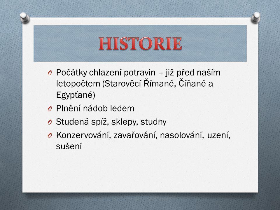 O Počátky chlazení potravin – již před naším letopočtem (Starověcí Římané, Číňané a Egypťané) O Plnění nádob ledem O Studená spíž, sklepy, studny O Ko