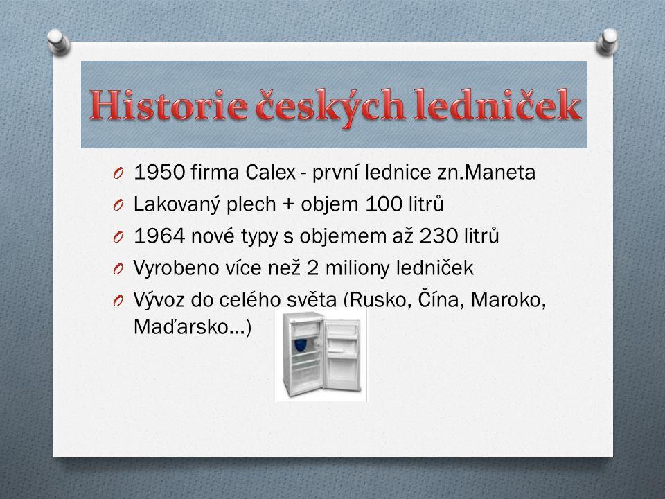 O 1950 firma Calex - první lednice zn.Maneta O Lakovaný plech + objem 100 litrů O 1964 nové typy s objemem až 230 litrů O Vyrobeno více než 2 miliony