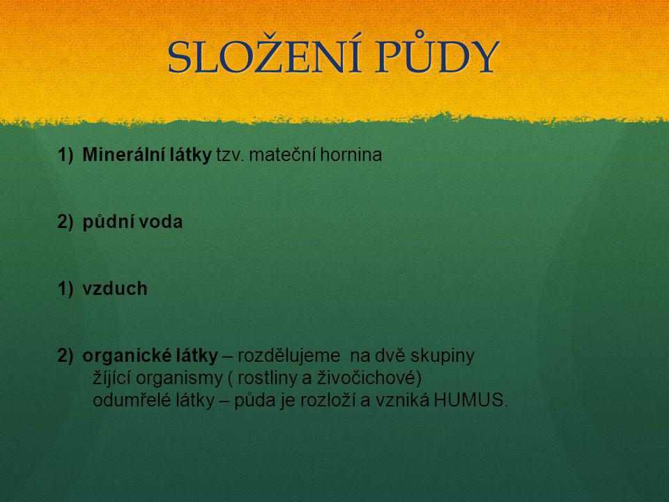 SLOŽENÍ PŮDY 1)Minerální látky tzv. mateční hornina 2)půdní voda 1)vzduch 2)organické látky – rozdělujeme na dvě skupiny žíjící organismy ( rostliny a