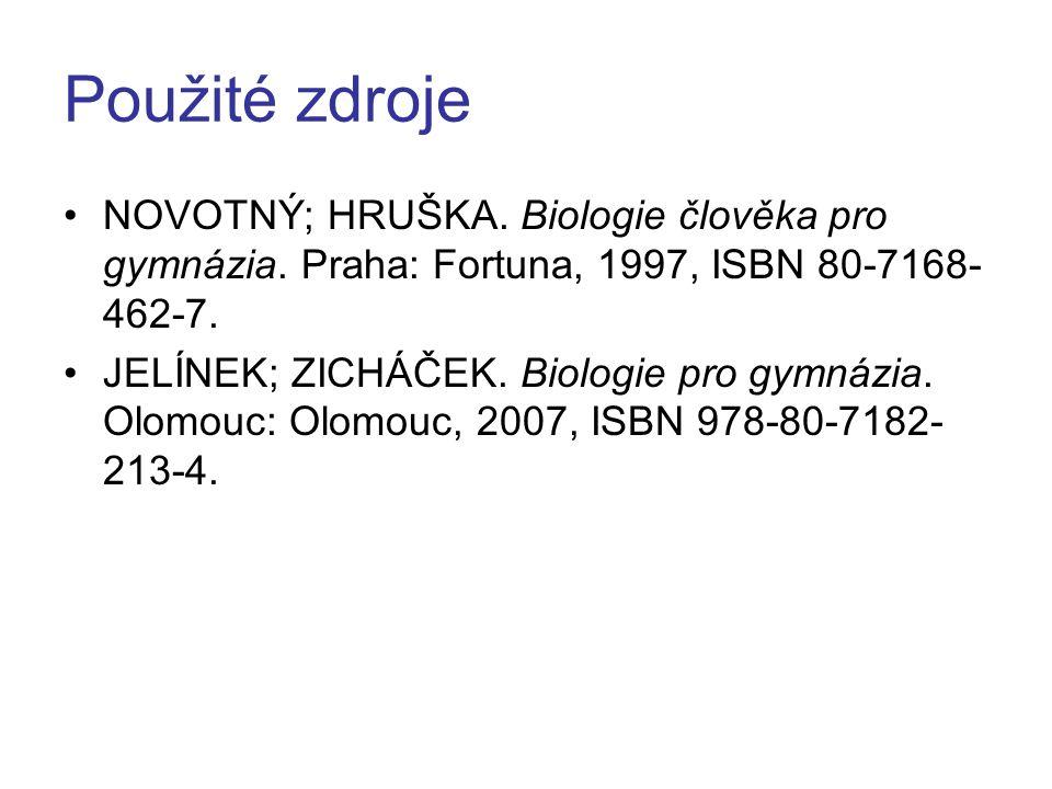 Použité zdroje NOVOTNÝ; HRUŠKA. Biologie člověka pro gymnázia. Praha: Fortuna, 1997, ISBN 80-7168- 462-7. JELÍNEK; ZICHÁČEK. Biologie pro gymnázia. Ol