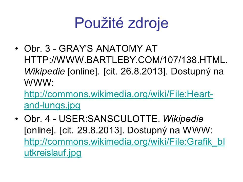 Použité zdroje Obr. 3 - GRAY'S ANATOMY AT HTTP://WWW.BARTLEBY.COM/107/138.HTML. Wikipedie [online]. [cit. 26.8.2013]. Dostupný na WWW: http://commons.