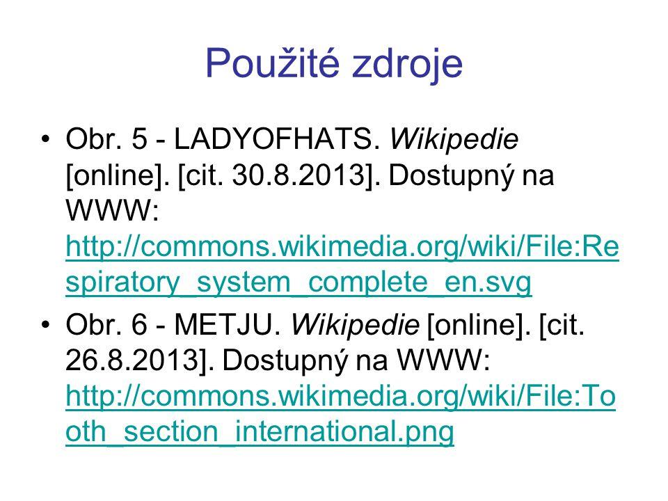 Použité zdroje Obr. 5 - LADYOFHATS. Wikipedie [online]. [cit. 30.8.2013]. Dostupný na WWW: http://commons.wikimedia.org/wiki/File:Re spiratory_system_