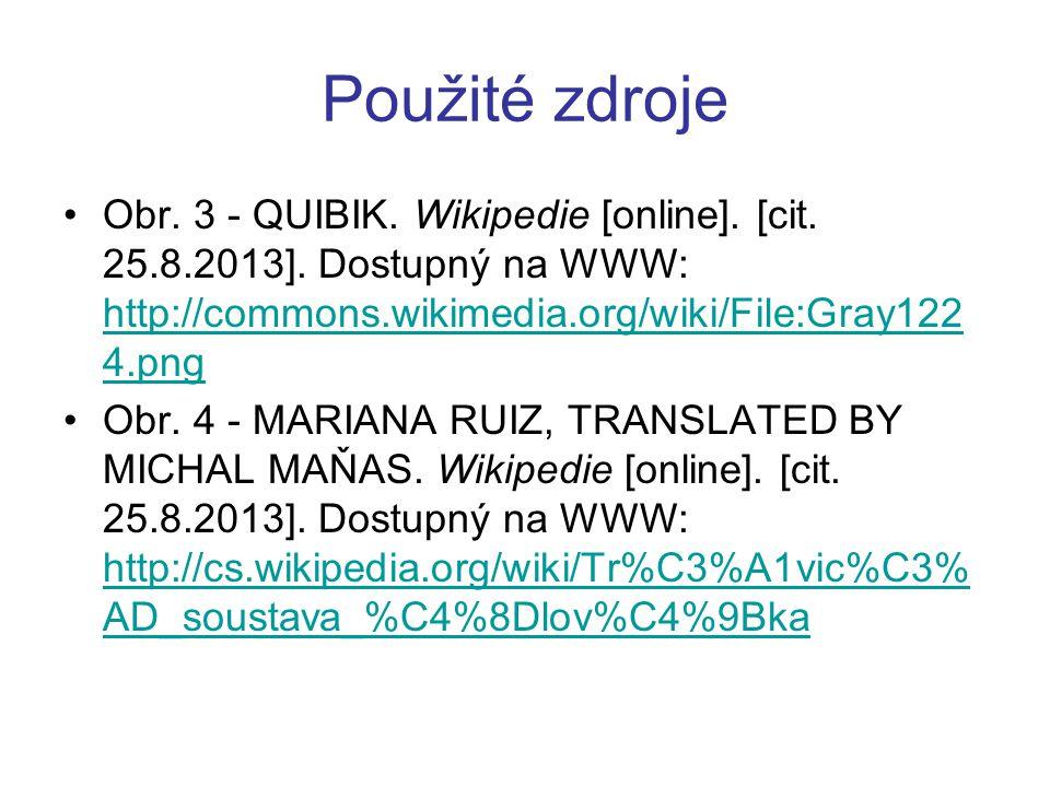 Použité zdroje Obr. 3 - QUIBIK. Wikipedie [online]. [cit. 25.8.2013]. Dostupný na WWW: http://commons.wikimedia.org/wiki/File:Gray122 4.png http://com