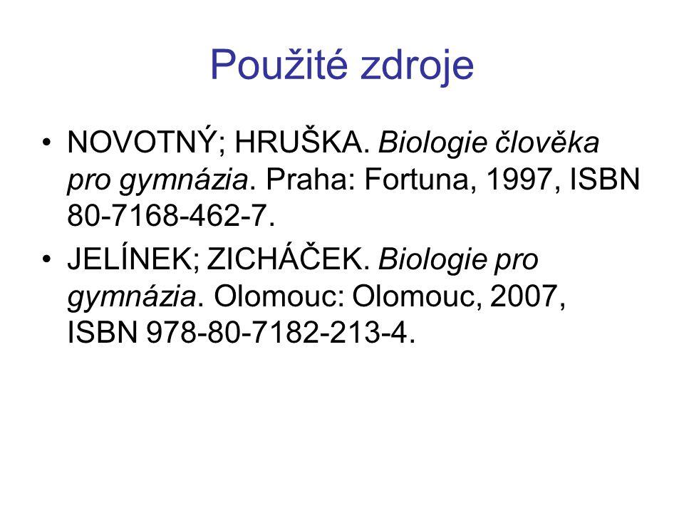 Použité zdroje NOVOTNÝ; HRUŠKA. Biologie člověka pro gymnázia. Praha: Fortuna, 1997, ISBN 80-7168-462-7. JELÍNEK; ZICHÁČEK. Biologie pro gymnázia. Olo
