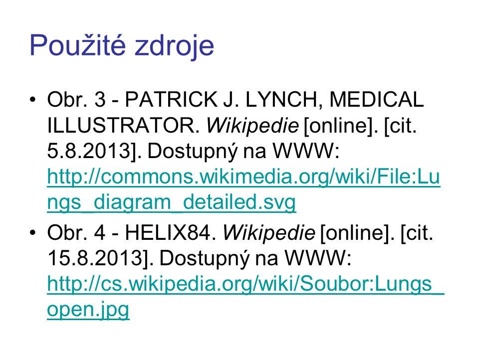 Použité zdroje Obr. 3 - PATRICK J. LYNCH, MEDICAL ILLUSTRATOR. Wikipedie [online]. [cit. 5.8.2013]. Dostupný na WWW: http://commons.wikimedia.org/wiki