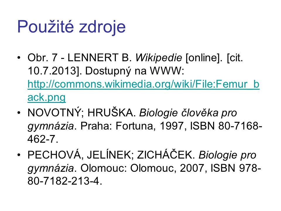 Použité zdroje Obr. 7 - LENNERT B. Wikipedie [online]. [cit. 10.7.2013]. Dostupný na WWW: http://commons.wikimedia.org/wiki/File:Femur_b ack.png http: