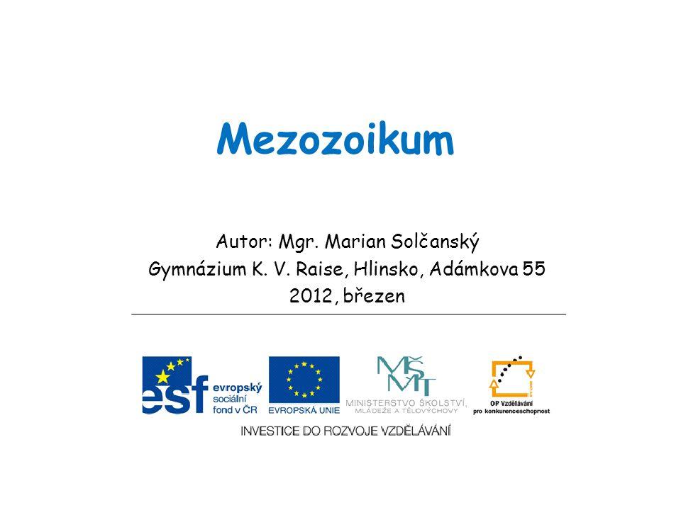 Mezozoikum Autor: Mgr. Marian Solčanský Gymnázium K. V. Raise, Hlinsko, Adámkova 55 2012, březen