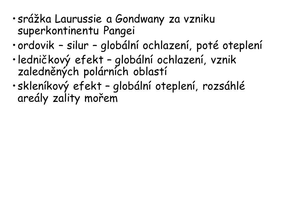 srážka Laurussie a Gondwany za vzniku superkontinentu Pangei ordovik – silur – globální ochlazení, poté oteplení ledničkový efekt – globální ochlazení