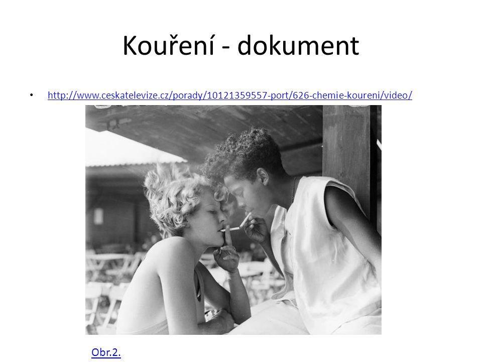 Kouření - dokument http://www.ceskatelevize.cz/porady/10121359557-port/626-chemie-koureni/video/ Obr.2.