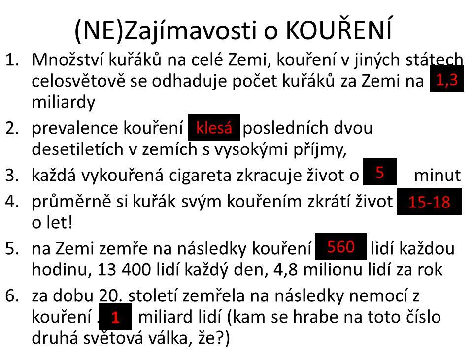 (NE)Zajímavosti o KOUŘENÍ 1.Množství kuřáků na celé Zemi, kouření v jiných státech celosvětově se odhaduje počet kuřáků za Zemi na …….