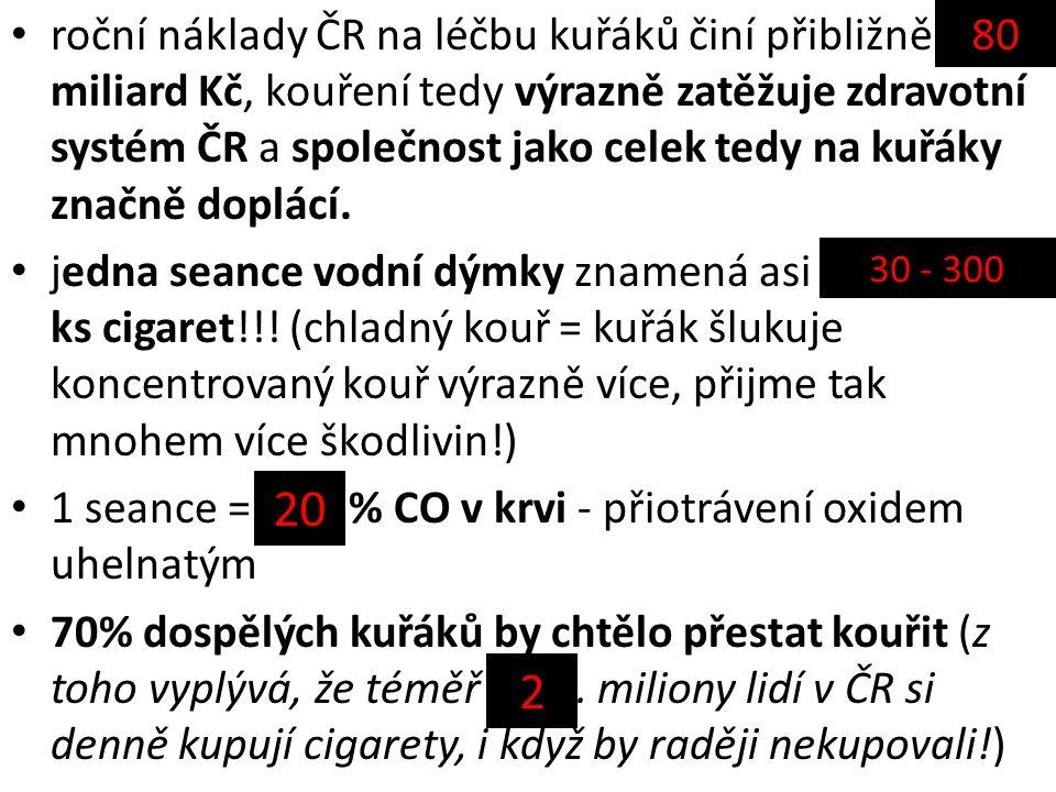 roční náklady ČR na léčbu kuřáků činí přibližně ……… miliard Kč, kouření tedy výrazně zatěžuje zdravotní systém ČR a společnost jako celek tedy na kuřáky značně doplácí.