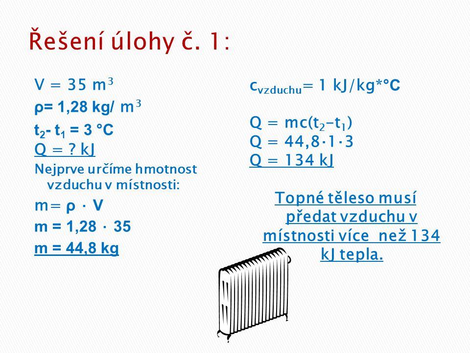 V = 35 m 3 ρ= 1,28 kg/ m 3 t 2 - t 1 = 3 °C Q = ? kJ Nejprve určíme hmotnost vzduchu v místnosti: m= ρ ⋅ V m = 1,28 ⋅ 35 m = 44,8 kg c vzduchu = 1 kJ/