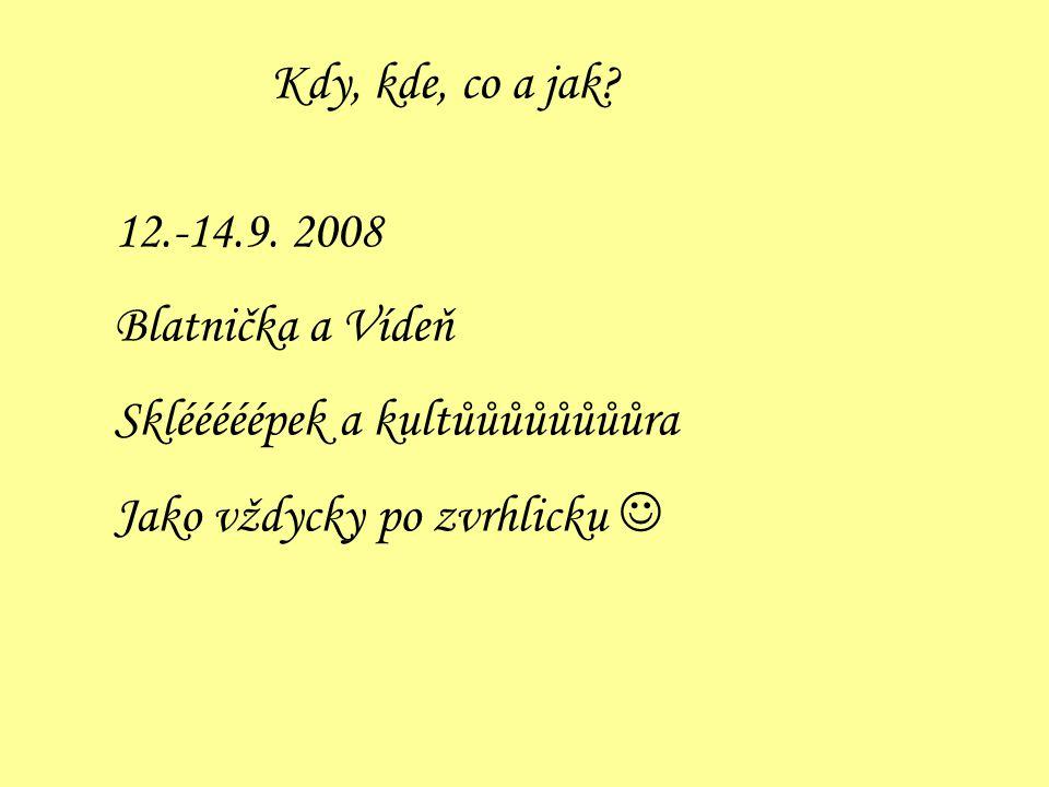 Kdy, kde, co a jak? 12.-14.9. 2008 Blatnička a Vídeň Sklééééépek a kultůůůůůůůůra Jako vždycky po zvrhlicku