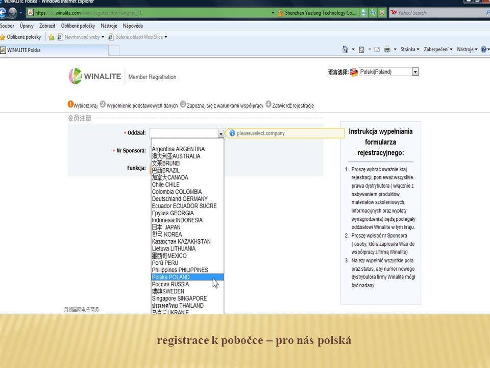 výběr jazyka, ve kterém budeme registrovat