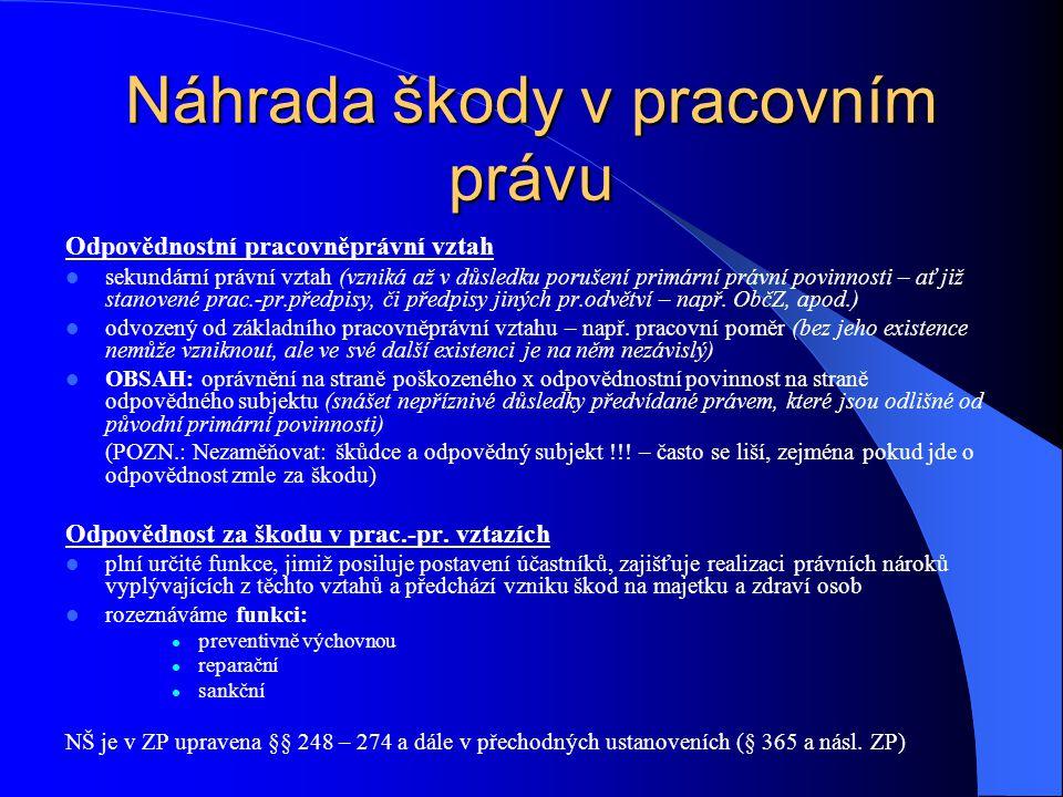 Odpovědnostní pracovněprávní vztah sekundární právní vztah (vzniká až v důsledku porušení primární právní povinnosti – ať již stanovené prac.-pr.předp