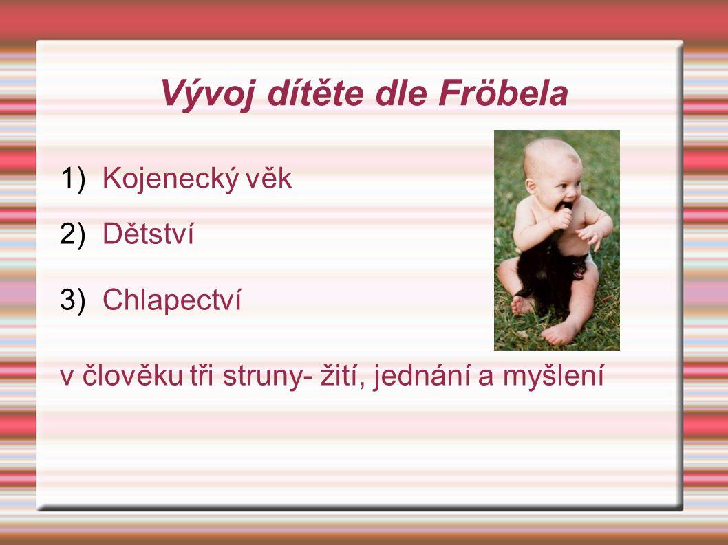 1) Kojenecký věk 2) Dětství 3) Chlapectví v člověku tři struny- žití, jednání a myšlení Vývoj dítěte dle Fröbela