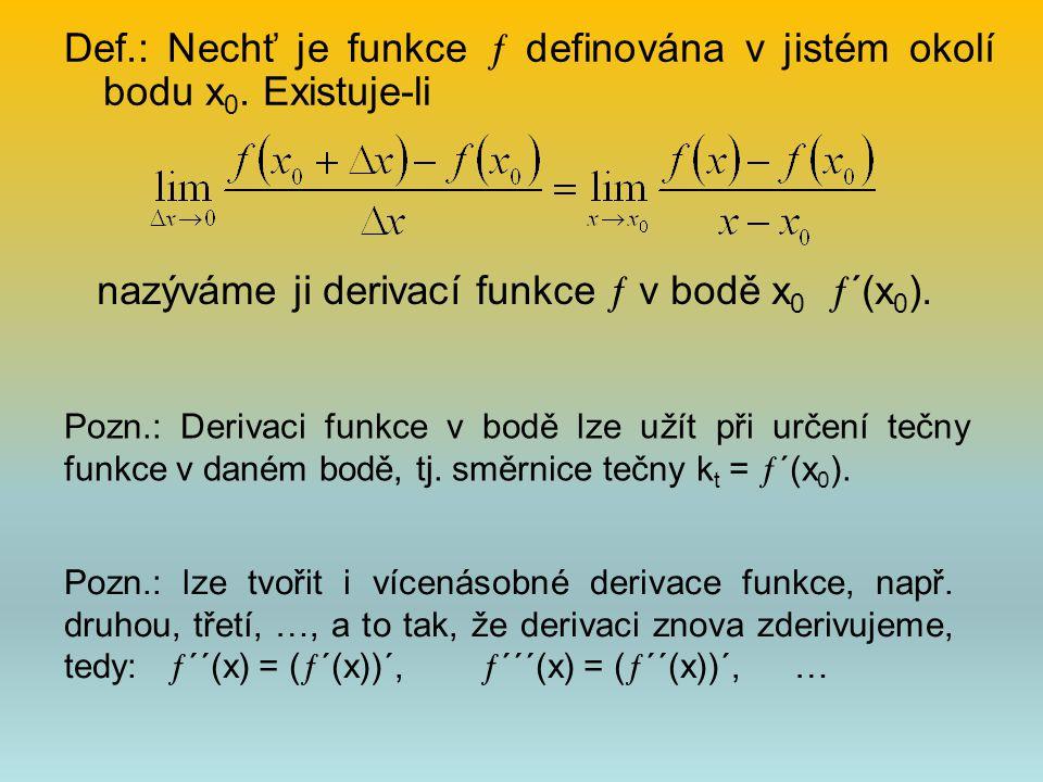 Def.: Nechť je funkce  definována v jistém okolí bodu x 0. Existuje-li nazýváme ji derivací funkce  v bodě x 0  ´(x 0 ). Pozn.: Derivaci funkce v b