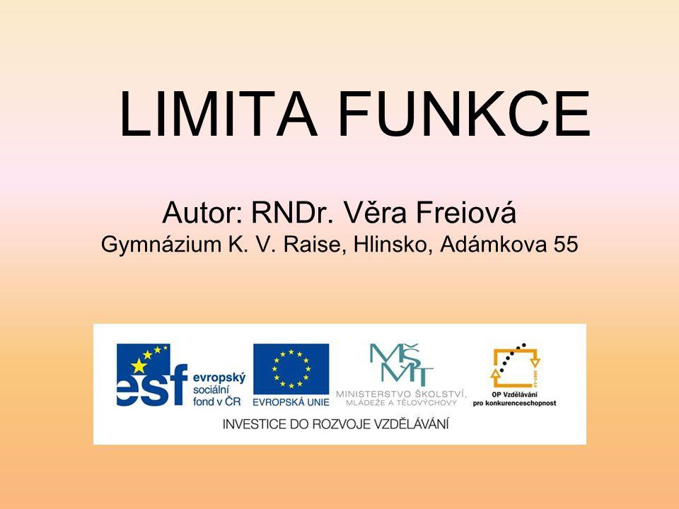 Autor: RNDr. Věra Freiová Gymnázium K. V. Raise, Hlinsko, Adámkova 55 LIMITA FUNKCE